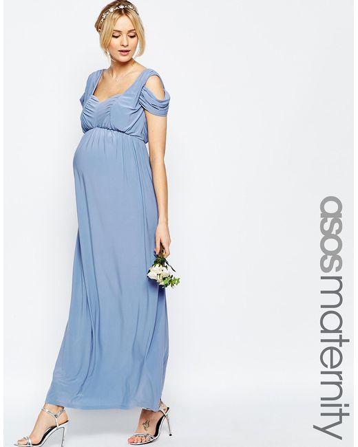 Asos Maternity Wedding Drape Cold Shoulder Maxi Dress In Blue Lyst
