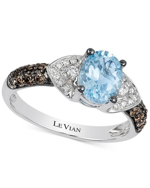 Le Vian | Blue Aquamarine (1 Ct. T.w.) And Diamond (1/3 Ct. T.w.) Ring In 14k White Gold | Lyst