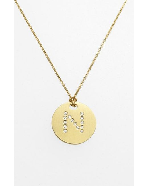 Roberto Coin | Metallic 'tiny Treasures' Diamond Initial Disc Pendant Necklace - N | Lyst