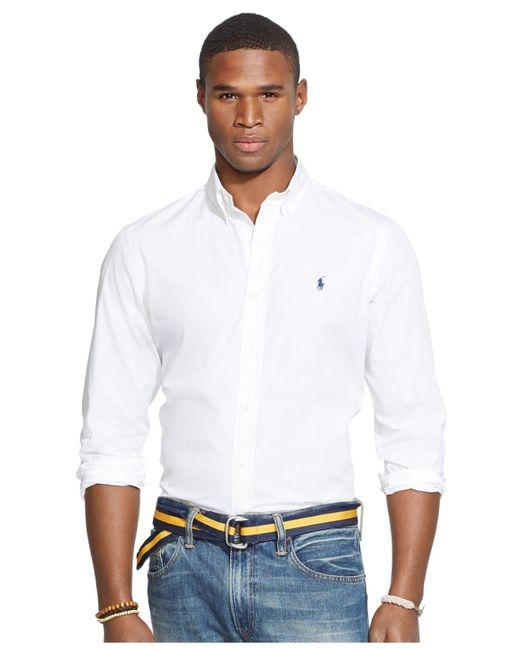 Polo Ralph Lauren | White Poplin Navy Solid Shirt for Men | Lyst