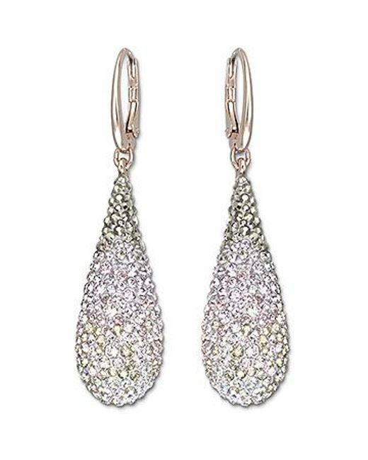 Swarovski   Pink Abstract Nude Pierced Earrings   Lyst