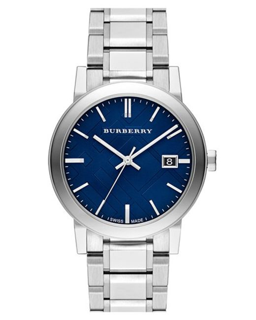 Burberry | Blue Large Check Stamped Bracelet Watch | Lyst