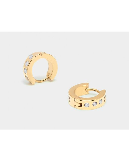 Maria Francesca Pepe | Metallic Pair Of Hoops With Encrusted Zircons | Lyst