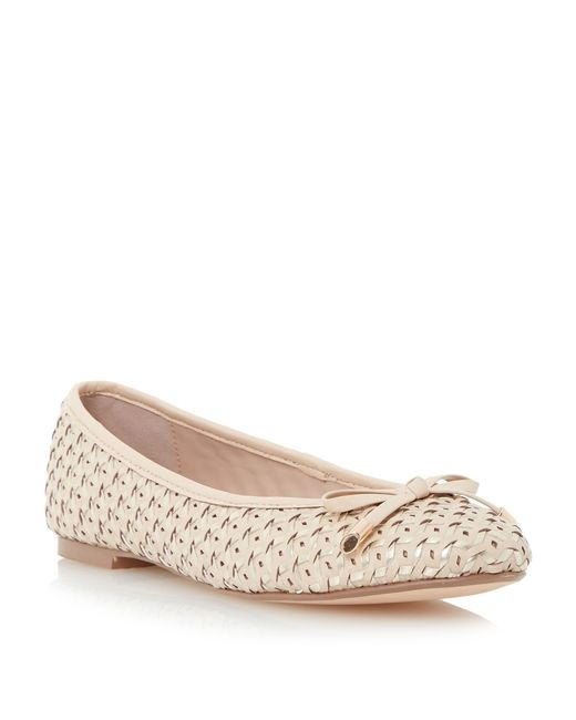 Dune | Natural Hobbi Woven Leather Ballerina Shoes | Lyst