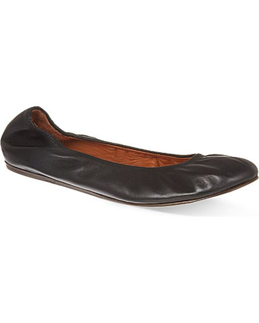 Lanvin | Black Leather Ballerina Flats | Lyst