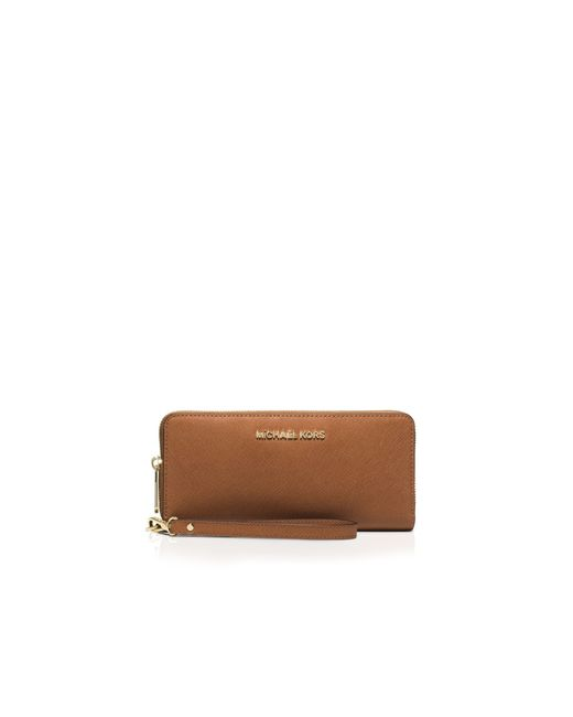 MICHAEL Michael Kors | Brown Jet Set Travel Continental Wallet | Lyst