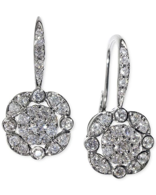Macy's | Metallic Effy Diamond (5/8 Ct. T.w.) Leverdrop Cluster Earrings In White Gold | Lyst