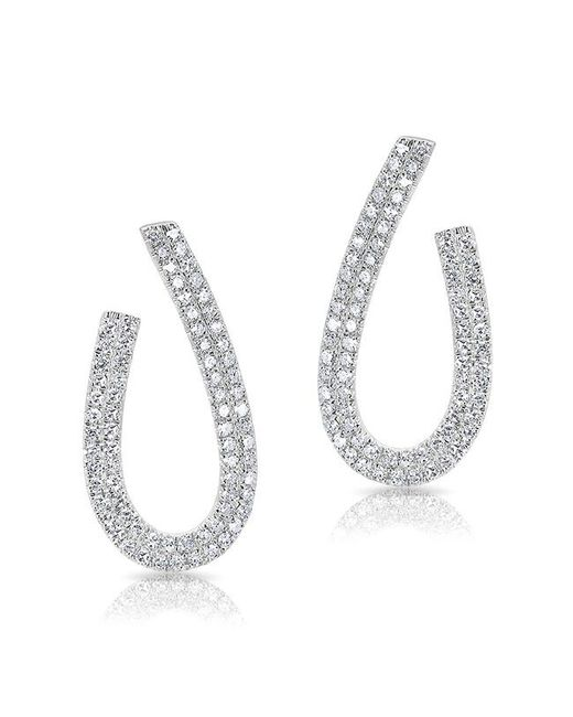 Anne Sisteron - Metallic 14kt White Gold Diamond Curve Earrings - Lyst