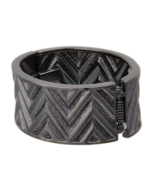 Guess   Metallic Chevron Stripe Wide Stretch Bracelet   Lyst