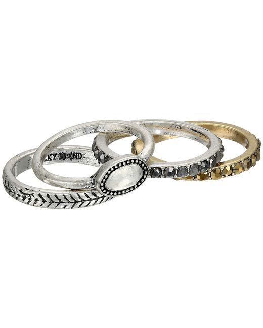 Lucky Brand   Metallic Organic Stone Stack Ring   Lyst