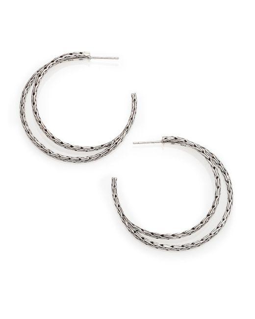 John Hardy | Metallic Classic Chain Sterling Silver Hoop Earrings/1.5 | Lyst