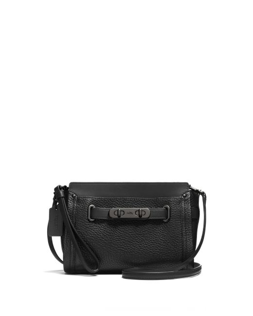 COACH | Black Swagger Leather Wristlet | Lyst