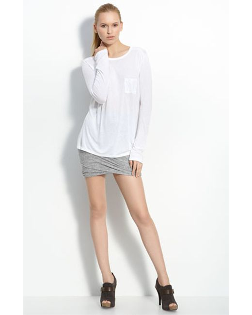 T By Alexander Wang | White Long Sleeve Pocket Tee | Lyst