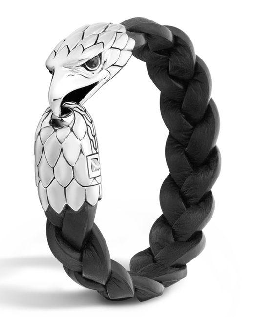 John Hardy   Metallic Men's Silver Eagle Head Leather Bracelet for Men   Lyst