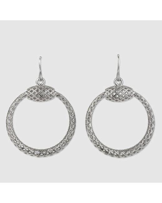 Gucci | Metallic Sterling Silver Horsebit Earrings | Lyst