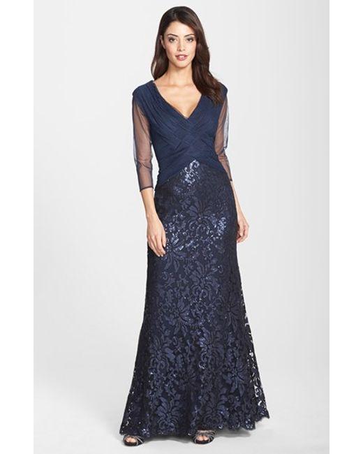 Tadashi Shoji | Blue Sequin Lace Gown | Lyst
