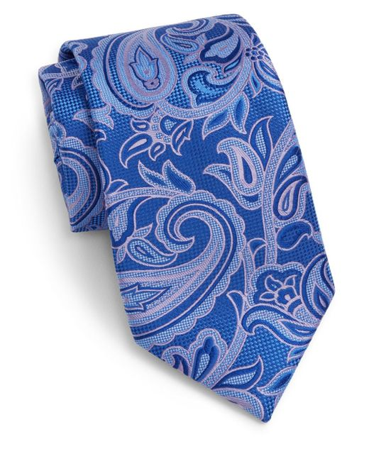 Saks Fifth Avenue | Blue Paisley Silk Tie for Men | Lyst