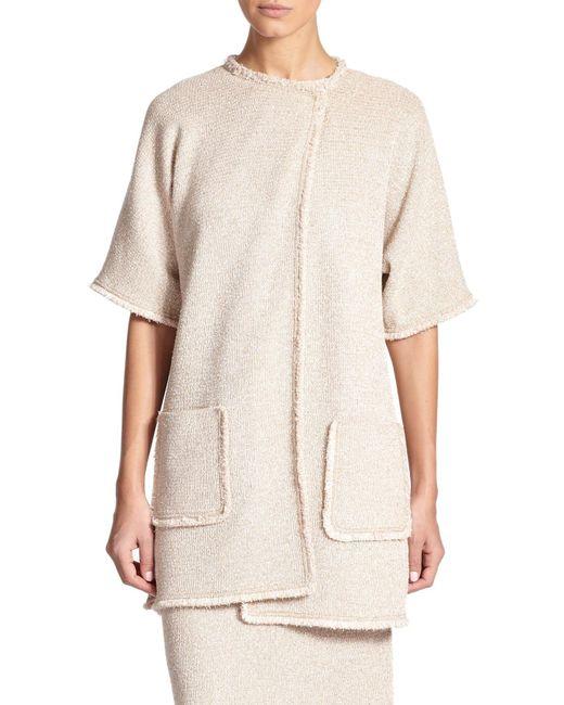 St. John | Natural Eyelash-fringed Knit Jacket | Lyst