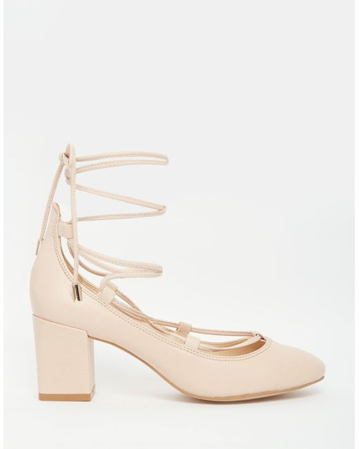 Carvela Kurt Geiger Aid Nude Suede Ghillie Lace Up Mid Heel Shoes In Pink Palepink -5968