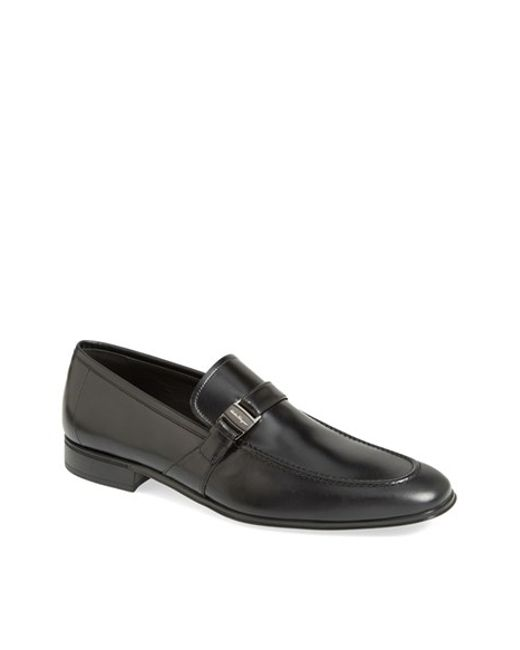 Ferragamo | Black Pinot Leather Loafers for Men | Lyst