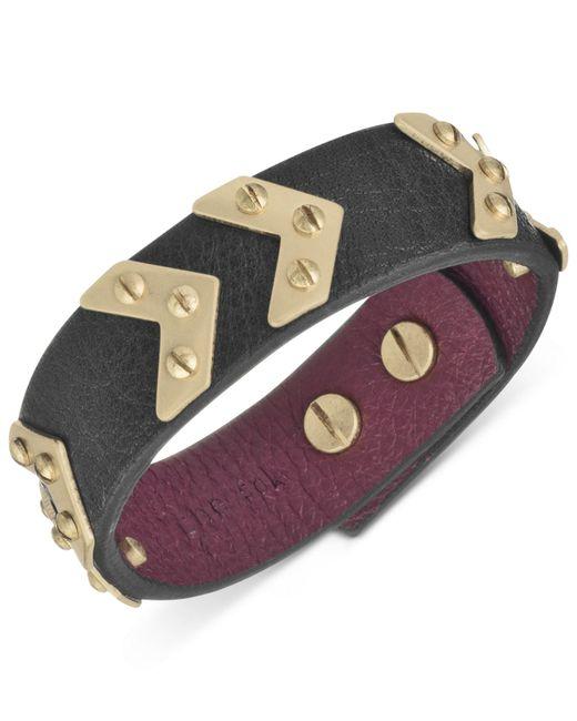 The Sak | Metallic Gold-tone Signature Chevron Black Leather Bracelet | Lyst