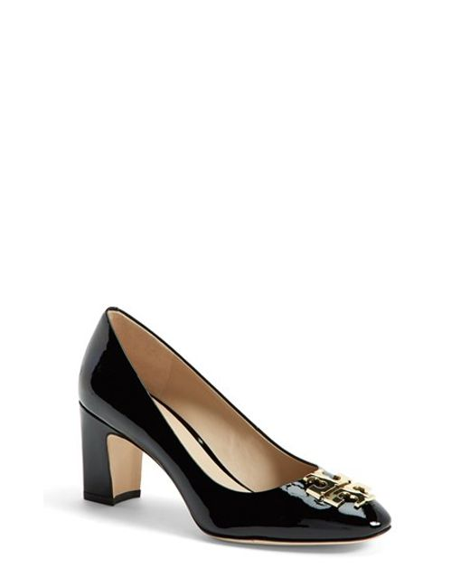 Tory Burch | Black 'raleigh' Patent Leather Pump | Lyst