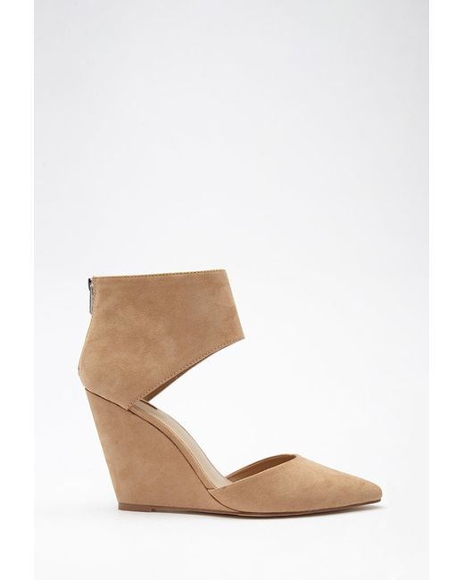 Forever 21 | Natural Pointed Cutout Faux Suede Wedges | Lyst