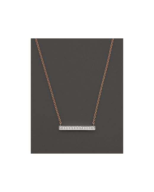 Dana Rebecca | 14k White & Rose Gold Sylvie Rose Medium Bar Necklace With Diamonds | Lyst