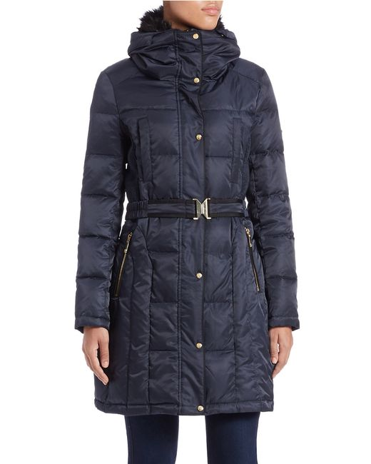 Vince Camuto | Blue Faux Fur-collared Quilted Coat | Lyst