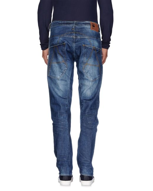 g star raw denim trousers in blue for men save 29 lyst. Black Bedroom Furniture Sets. Home Design Ideas