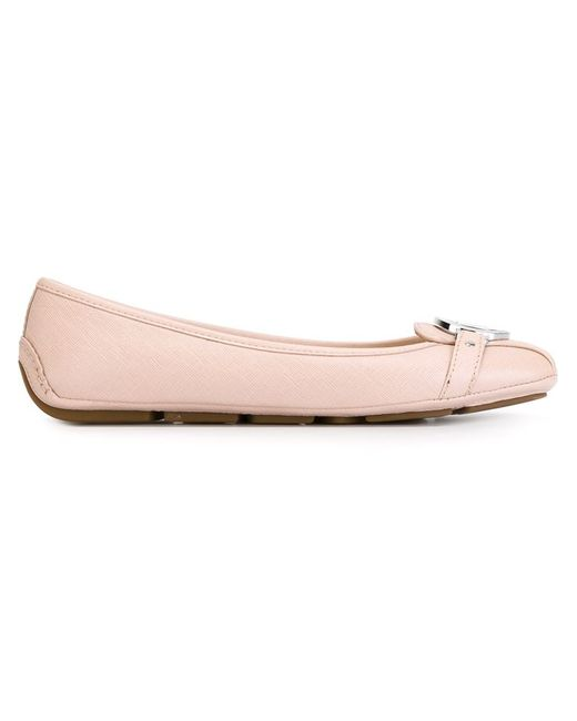 michael michael kors fulton leather ballet flats in pink pink purple lyst. Black Bedroom Furniture Sets. Home Design Ideas