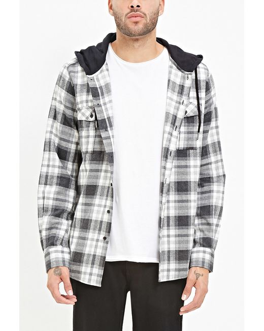 Forever 21 hooded plaid flannel shirt in black for men for Black watch plaid flannel shirt