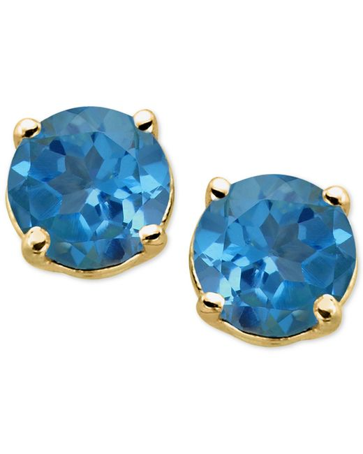 Macy's | Blue Topaz Stud Earrings In 14k Gold (1-1/3 Ct. T.w.) | Lyst