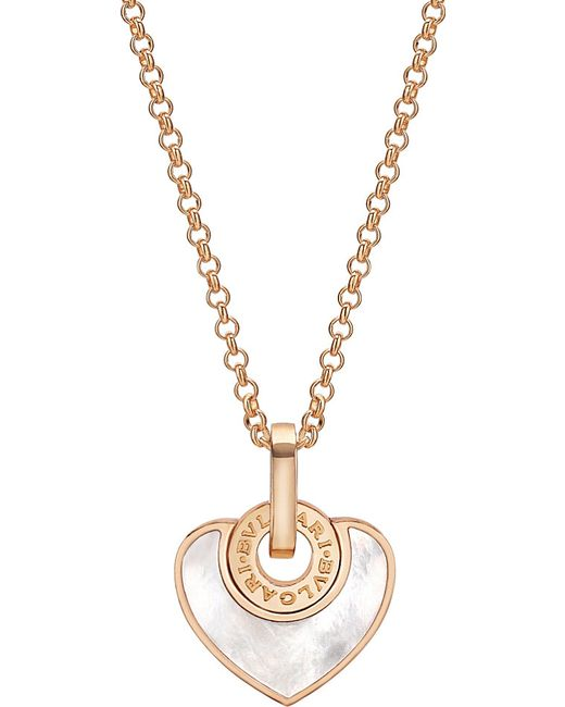 BVLGARI   Metallic - Cuore 18kt Pink-gold And Pearl Necklace   Lyst