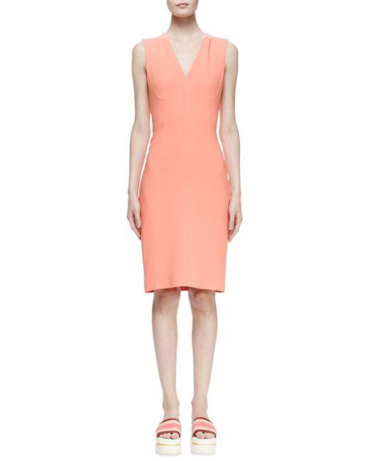 Stella McCartney | Orange Simona Sleeveless Cady Sheath Dress | Lyst