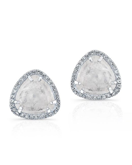 Anne Sisteron | Metallic 14kt White Gold Diamond Moonstone Stud Earrings | Lyst