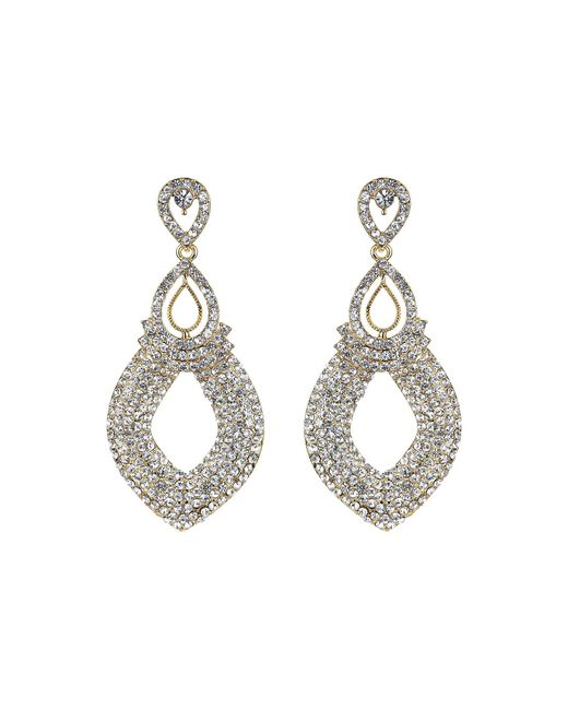 Mikey | Metallic Twin Oval Loop Crystal Drop Earring | Lyst