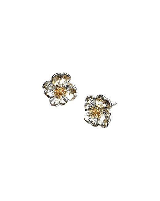 Azendi | Metallic Sterling Silver Primrose Earrings | Lyst