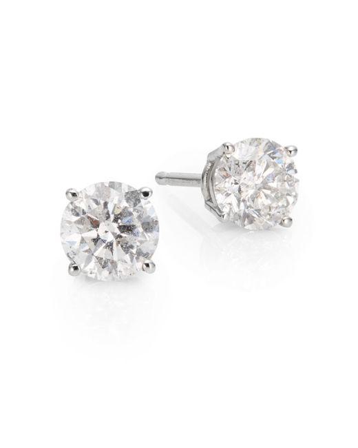Saks Fifth Avenue | 1 Tcw Diamond & 18k White Gold Stud Earrings | Lyst