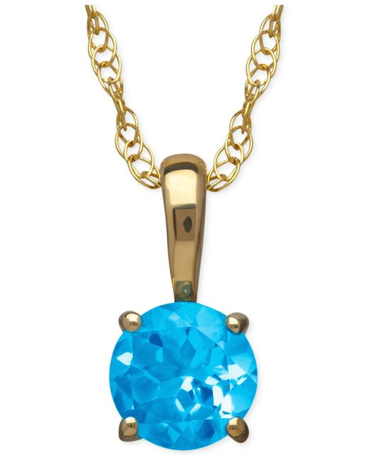 Macy's | Blue Topaz Pendant Necklace In 14k Gold (5/8 Ct. T.w.) | Lyst