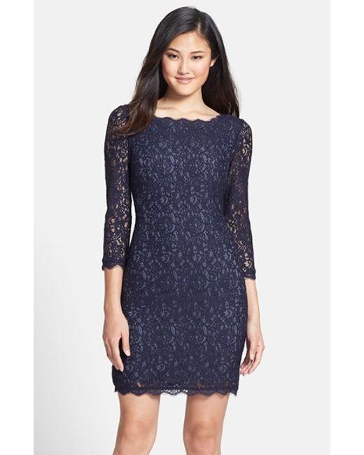 Adrianna papell Lace Overlay Sheath Dress in Blue (NAVY/ GUNMETAL ...
