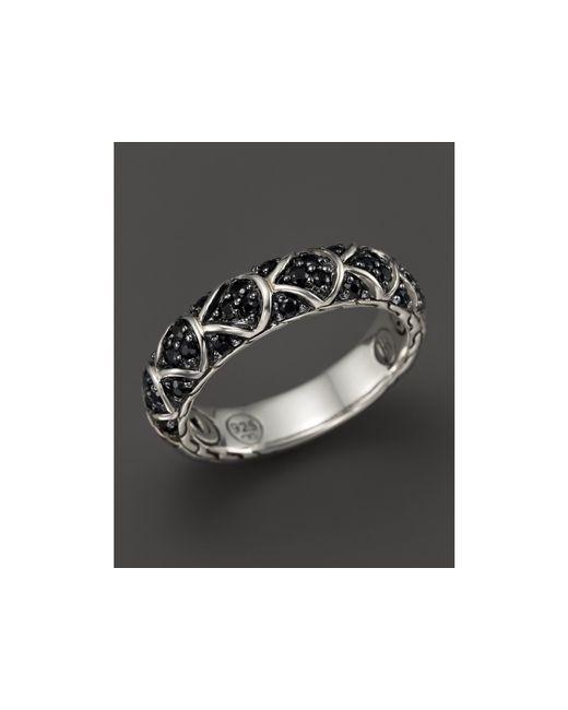 John Hardy | Metallic Naga Sterling Silver Lava Slim Band Ring With Black Sapphire | Lyst