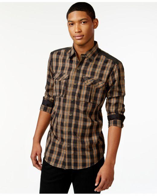 Sean john men 39 s big tall flight check shirt in brown for for Sean john t shirts for mens