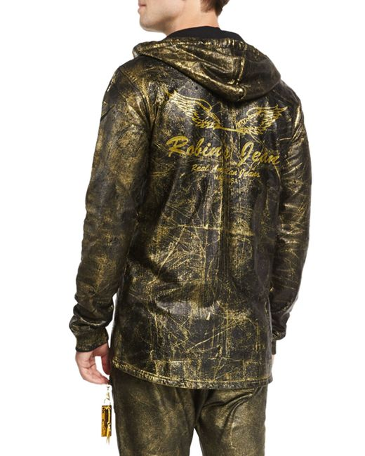 Robinu0026#39;s jean Gold-coated Zip-up Hoodie in Gold for Men   Lyst