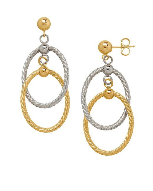 lord taylor 14k yellow and white gold oval drop earrings