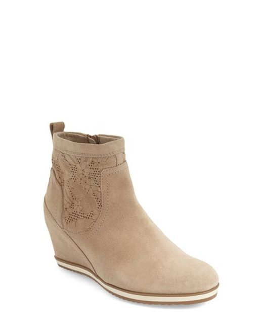 geox perforated wedge boots in brown lyst