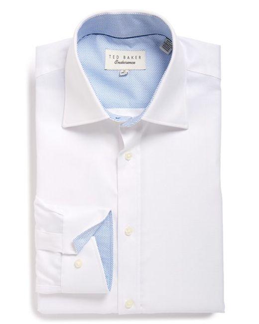 Ted baker trim fit herringbone dress shirt in white for for White herringbone dress shirt