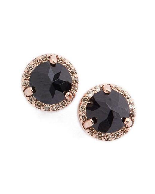Anna Sheffield | Black Spinel & Champagne Diamond Rosette Stud Earrings | Lyst