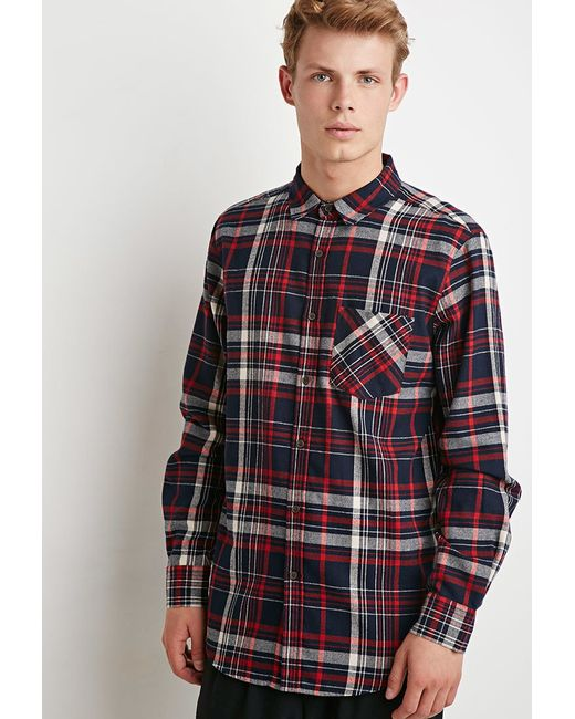 Forever 21 tartan plaid flannel shirt in blue for men for Navy blue and red flannel shirt