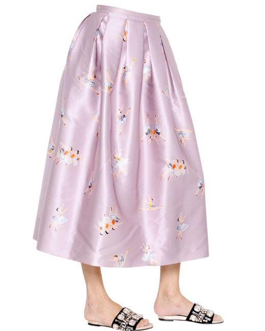 rochas ballerina printed duchesse midi skirt in blue